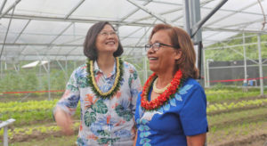 Taiwan President Tsai Ing-wen and RMI President Hilda Heine were impressed with the new Taiwan Technical Mission facilities during a tour last week to the Laura Farm.