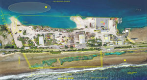 The yellow highlighted rectangular area at the bottom of this aerial photo shows the location of the land reclamation project proposed by PII. This is the ocean side reef area across from the PII Dock area on the lagoon side. Photo graphic: Pacific International Inc.