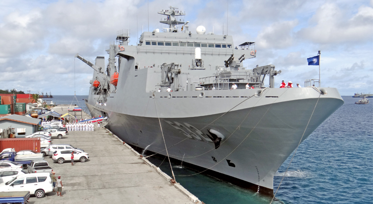The the ROC Navy flagship Pan Shi tied up at Delap Dock Wednesday morning as part of a three-day stay in Majuro. Two additional navy vessels are accompanying the Pan Shi on a three-month Pacific tour. Photo: Hilary Hosia.