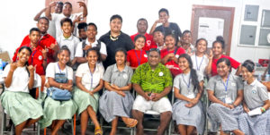 Students from five high schools participated in a Marshall Islands Red Cross Society-sponsored first aid training on Ebeye. Photo: Roger Muller.
