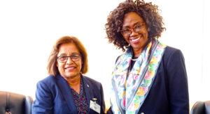 Marshall Islands President Hilda Heine and Costa Rica Vice President Epsy Barr in New York City. Photo: Kelly Lorennij.
