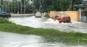 Heavy rainfall has been the story of the year for Majuro, with roads frequently flooded. Weather forecasters believe there is a good chance of a new El Niño weather condition forming late this year. Photo: Giff Johnson.