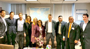 President Hilda Heine, center, with Ministers Kalani Kaneko and David Paul, third and second from right, respectively, and the Neema Technologies team in New York City late last month. Photo: Kelly Lorennij.