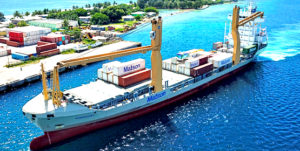 The Kamokuiki container vessel nears Delap Dock in Majuro on its first visit to Majuro Tuesday this week. Photo: Tyler Milne.