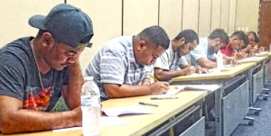 Pictured are some of the Majuro residents interested in training to become pilots for Air Marshall Islands taking an initial test run by the airline last Friday at the ICC. Photo: Kelly Lorennij.