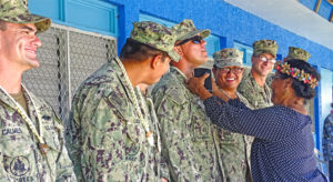 Rita Elementary School parents, teachers and students warmly recognized the visiting US Navy Seabees team for work around the campus. Photo: Kelly Lorennij.